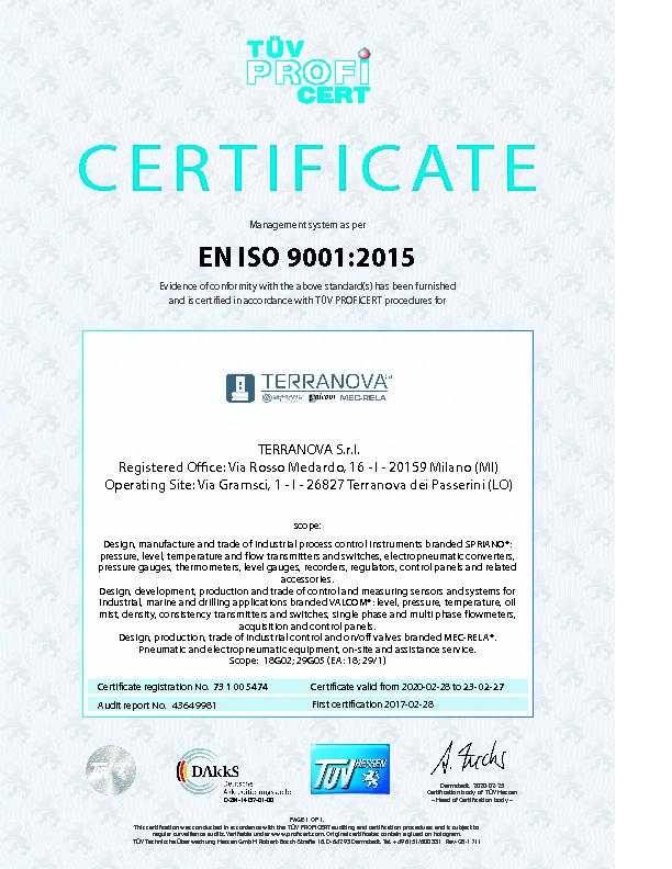 VALCOM ISO 9001 CERTIFICATE